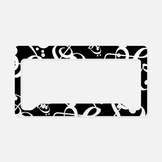 Black And White Music Hearts License Plate Holder