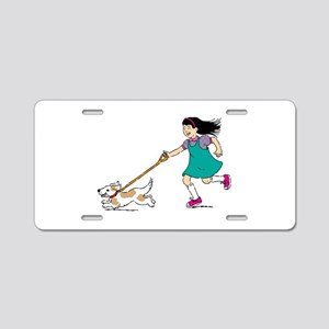 Girl walking with dog Aluminum License Plate