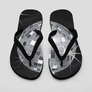 silver disco ball Flip Flops