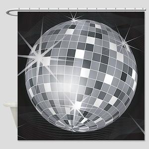 silver disco ball Shower Curtain