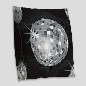silver disco ball Burlap Throw Pillow