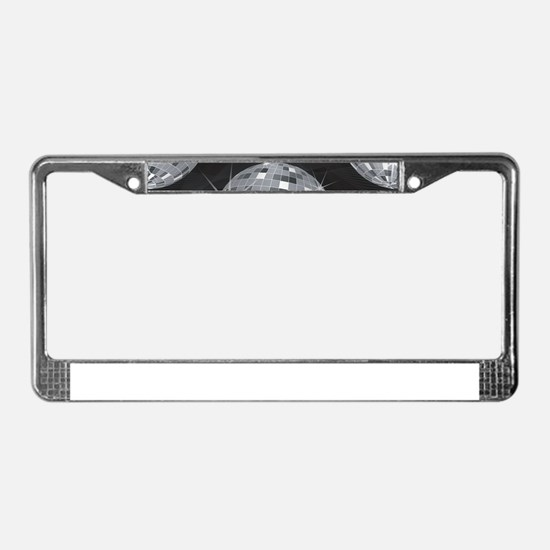 silver disco ball License Plate Frame