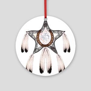 horse shoe star dreamcatcher Round Ornament