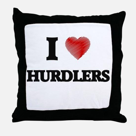 I love Hurdlers Throw Pillow