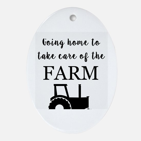 Cute Dairy farmer Oval Ornament