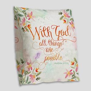 With God Burlap Throw Pillow