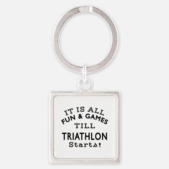 Triathlon Fun And Games Designs Square Keychain