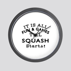 Squash Fun And Games Designs Wall Clock