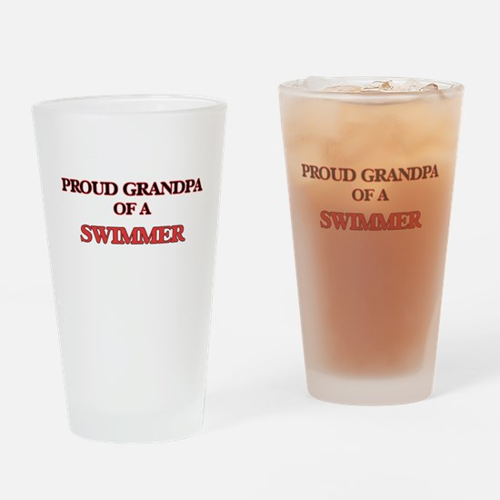 Proud Grandpa of a Swimmer Drinking Glass