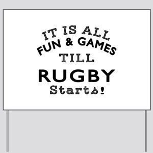 Rugby Fun And Games Designs Yard Sign