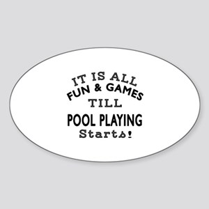 Pool Playing Fun And Games Designs Sticker (Oval)