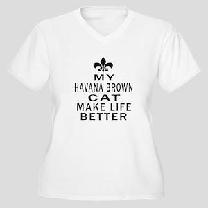 Havana Brown Cat Women's Plus Size V-Neck T-Shirt