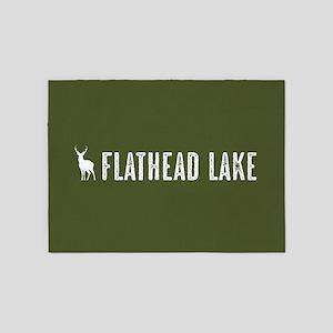 Deer: Flathead Lake, Montana 5'x7'Area Rug