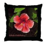 Red-orange hibiscus flower Throw Pillow