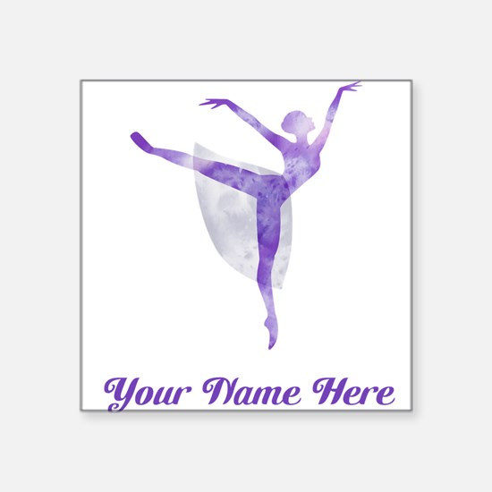 "Personalized Ballet Square Sticker 3"" x 3"""