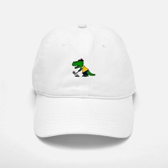 Alligator Playing Golf Baseball Baseball Cap