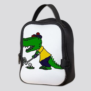 Alligator Playing Golf Neoprene Lunch Bag