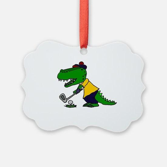 Alligator Playing Golf Ornament