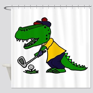 Alligator Playing Golf Shower Curtain