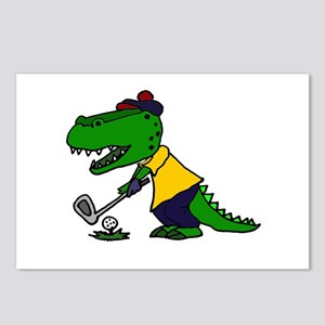Alligator Playing Golf Postcards (Package of 8)