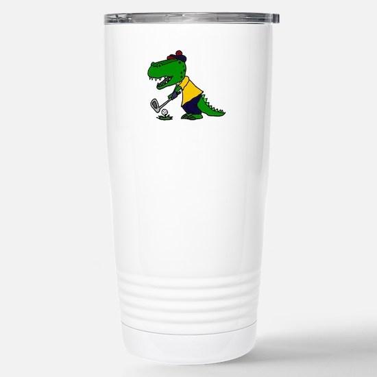 Alligator Playing Golf Stainless Steel Travel Mug