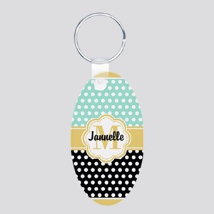 Polka Dot Pattern and Monog Aluminum Oval Keychain