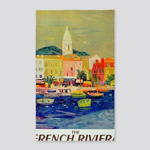 Vintage French Riviera Travel Poster Area Rug