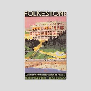 Folkestone, England; Vintage Travel Poste Area Rug