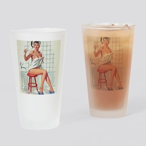 Pin Up Girl in White Bathroom Drinking Glass