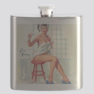 Pin Up Girl in White Bathroom Flask