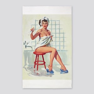 Pin Up Girl in White Bathroom Area Rug