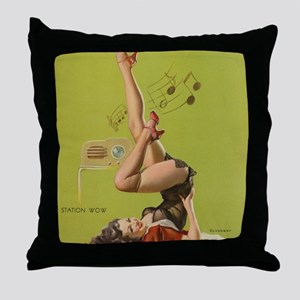 Pin Up Girl and Radio Throw Pillow