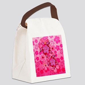 Pink Flowers And Honu Turtles Canvas Lunch Bag