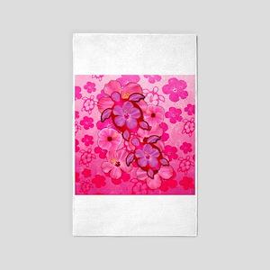 Pink Flowers And Honu Turtles Area Rug