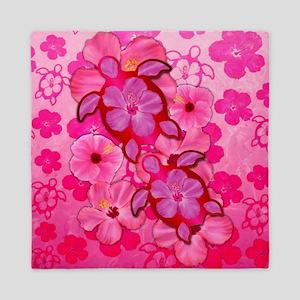 Pink Flowers And Honu Turtles Queen Duvet