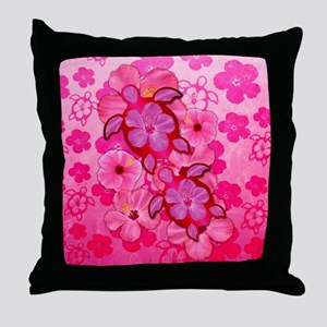Pink Flowers And Honu Turtles Throw Pillow