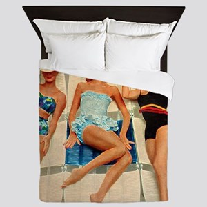 Retro Sunbathers Trio Queen Duvet