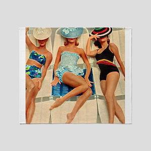 Retro Sunbathers Trio Throw Blanket