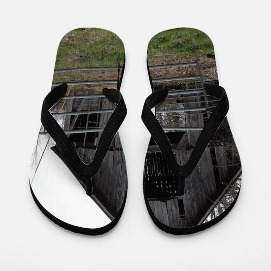 Old Weathered Farm Barn Flip Flops