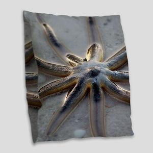 Starfish Burlap Throw Pillow