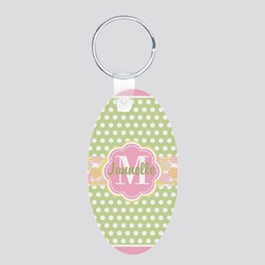 Personalized Green and Pink Aluminum Oval Keychain