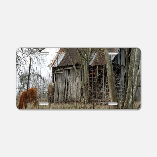 antique barn And Cows Aluminum License Plate