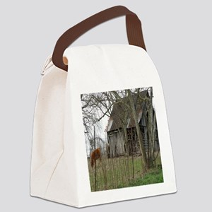antique barn And Cows Canvas Lunch Bag