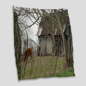 antique barn And Cows Burlap Throw Pillow
