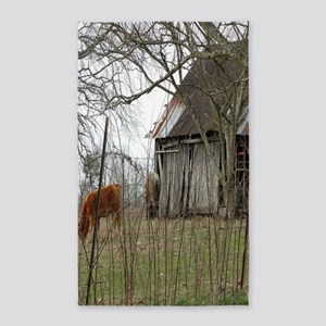 antique barn And Cows Area Rug