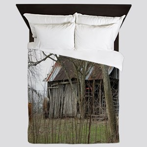 antique barn And Cows Queen Duvet