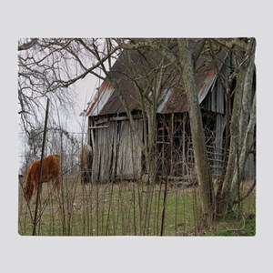 antique barn And Cows Throw Blanket