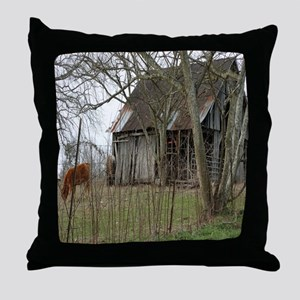 antique barn And Cows Throw Pillow