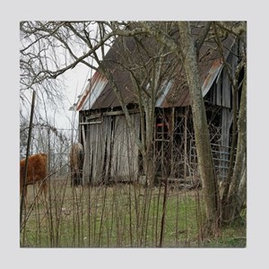 antique barn And Cows Tile Coaster