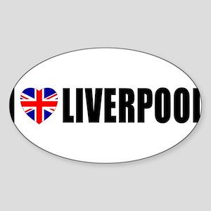 I Love Liverpool Oval Sticker